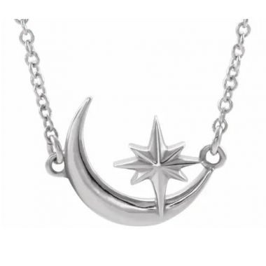 "Sterling Silver Crescent Moon & Star 16-18"" Necklace"