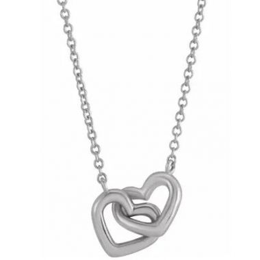 "Sterling Silver Interlocking Hearts 16-18"" Necklace"