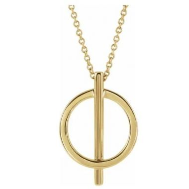 """14k Yellow Negative Space Circle 16-18"""" Necklace"""