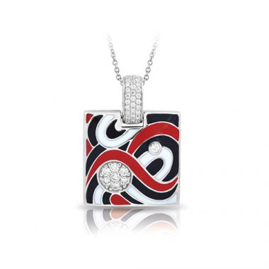 Belle Etoile Vortice Collection Sterling Silver Black and Red Enamel Pendant