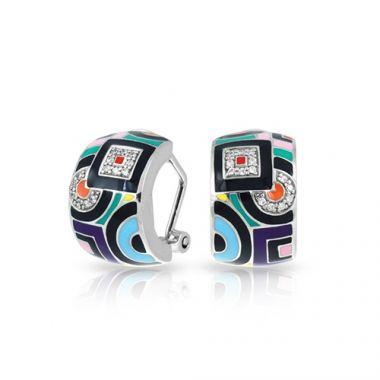 Belle Etoile Geometrica Collection Sterling Silver Multi Enamel Earrings