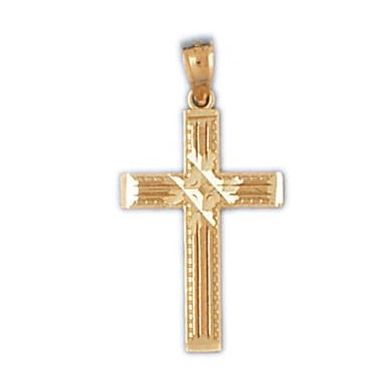 14k Yellow Gold Diamond Cut Cross