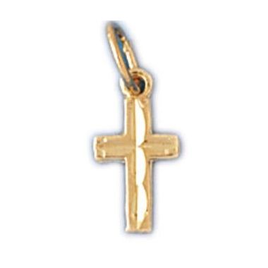 14k Yellow Small Gold Diamond Cut Cross