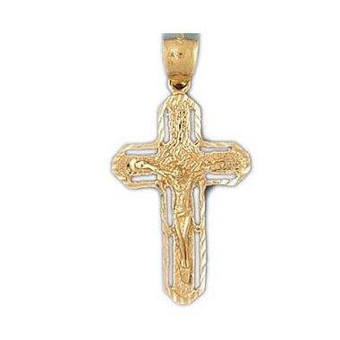 14k Yellow Gold Larger Crucifix Cross