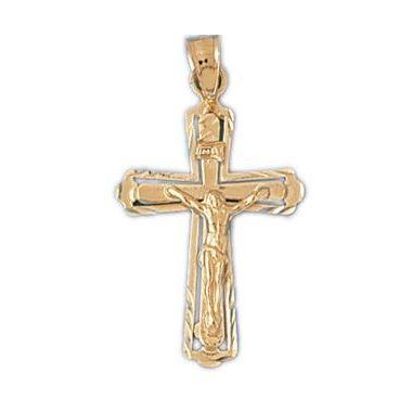 14k Yellow Gold Crucifix Cross