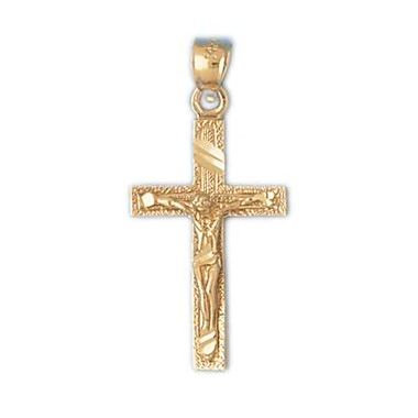 14k Yellow Gold Crucifix Cross with Diamond Cut Finish