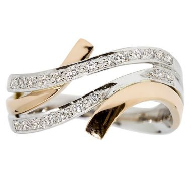 14k White/Rose Gold Diamond Fashion Ring 1/7Tw