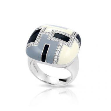Belle Etoile Art Deco Black Ring