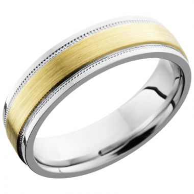 Lashbrook White & Yellow Cobalt Chrome 6mm Men's Wedding Band