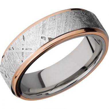 Lashbrook Rose & White Cobalt Chrome Meteorite 7mm Men's Wedding Band