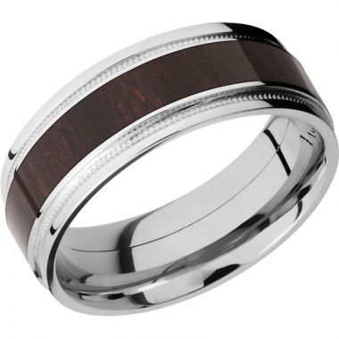 Lashbrook Cobalt Chrome Hardwood 8mm Men's Wedding Band