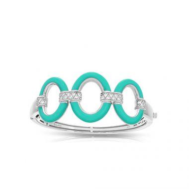 Belle Etoile Connection Aqua Enamel and CZ Bracelet