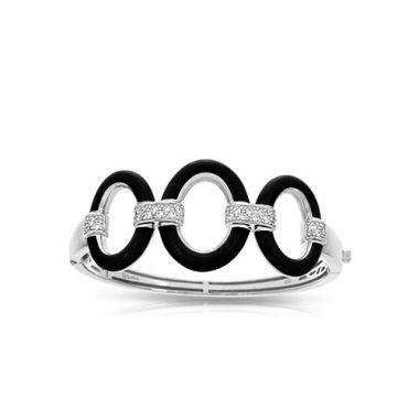 Belle Etoile Connection Black Enamel and CZ Bracelet