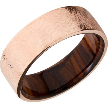 Lashbrook 14k Rose Gold Hardwood 8mm Men's Wedding Band
