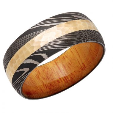 Lashbrook White & Yellow Damascus Steel Hardwood 9mm Men's Wedding Band