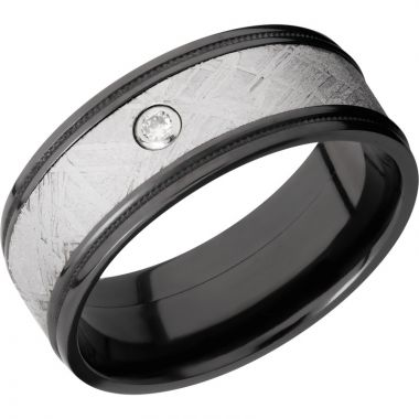 Lashbrook Black Zirconium Meteorite 8.5mm Men's Wedding Band