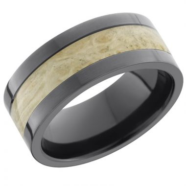 Lashbrook Black Zirconium Hardwood 9mm Men's Wedding Band
