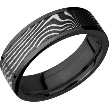 Lashbrook Black & White Zirconium 7mm Men's Wedding Band