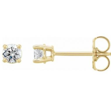 14k Yellow .16 CTW Diamond Stud Earrings