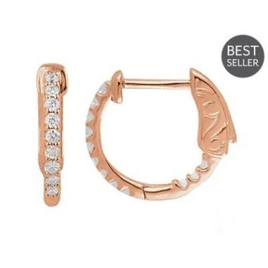 14K Rose 1/4 CTW Diamond Inside-Outside 14.5 mm Hoop Earrings