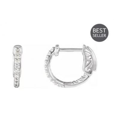 14K White 1/4 CTW Diamond Inside-Outside 14.5 mm Hoop Earrings