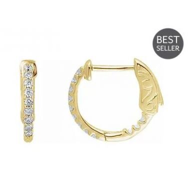 14K Yellow 1/4 CTW Diamond Inside-Outside 14.5 mm Hoop Earrings