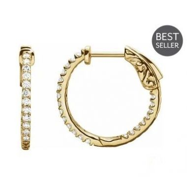 14k Yellow 1/2 CTW Diamond Inside-out 19mm Hoop Earrings