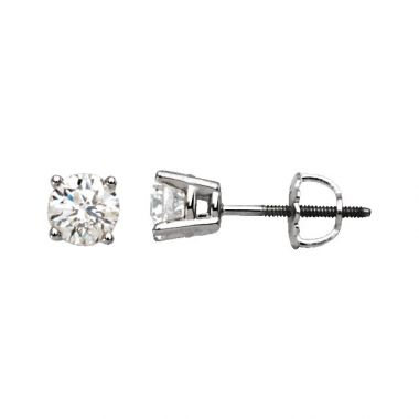14k White 1/2 Carat Diamond Studs