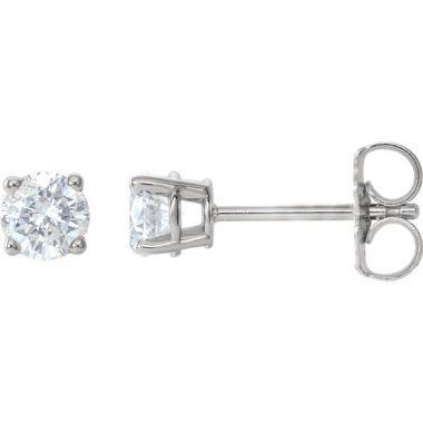 14k White Gold 3/4 Carat Diamond Stud Earrings