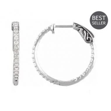 14k White 3/4 CTW Diamond Inside-out 23mm Hoop Earrings