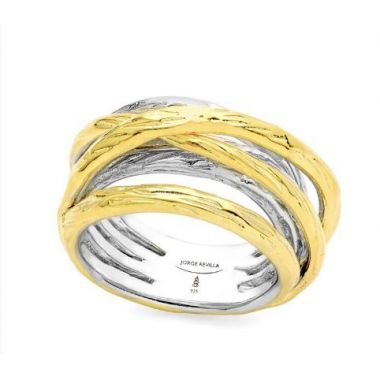 """New"" Jorge Revilla Sterling Silver Fashion Ring with 18K Yellow Finish"