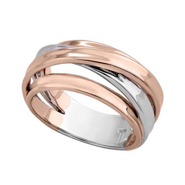 NEW Jorge Revilla Twist Sterling Silver & 18k Rose Ring