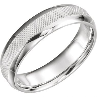 Sieger's Jewelers 14k White Gold Knurl Design Wedding Band