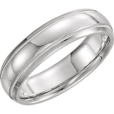 Sieger's Jewelers 14k White Gold Milgrain Wedding Band