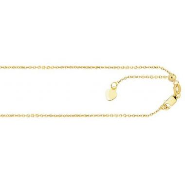 14k Yellow 0.9mm Adjustable Diamond Cut Cable Chain 30""