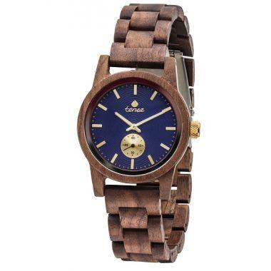 Gents Hampton Walnut Blue Face Tense Wooden Watch