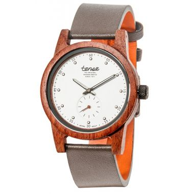 Gents Hampton North Rose Wood Tense Watch Leather
