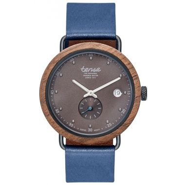 Gents Hudson Leather Walnut Black Tense Wooden Watch