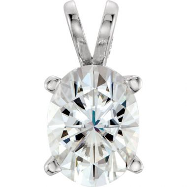 Sieger's Jewelers 14k White Gold Oval Forever One Moissanite Pendant