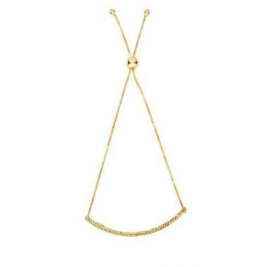 "14kt 9.25"" Yellow Gold Diamond Cut Bar Bolo Bracelet"