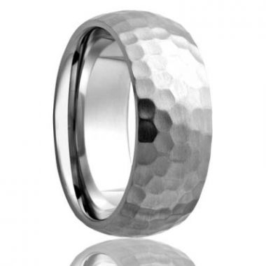 Ladies Hammered Finish Cobalt Wedding Band