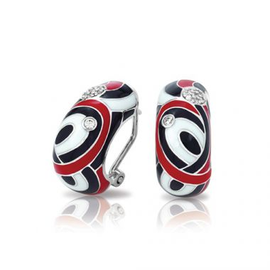 Belle Etoile Vortice Collection Sterling Silver Black and Red Enamel Earrings