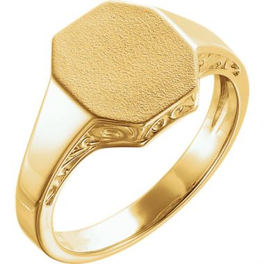 Sieger's Jewelers 14k Yellow Gold Men's Scroll Signet Ring