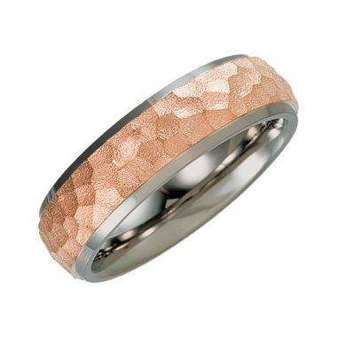 Sieger's Jewelers Titanium & Rose Immerse Plated 7mm Hammered Finish Beveled Edge Wedding Band Size 11