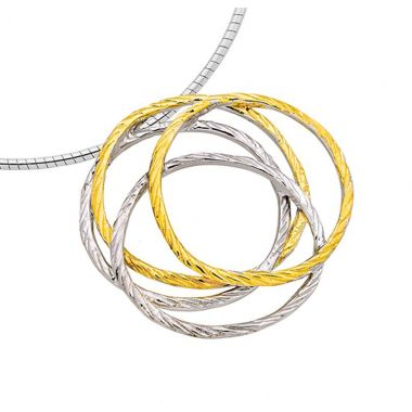 """New"" Jorge Revilla Sterling Silver Fashion Necklace with 18k Yellow Finish"