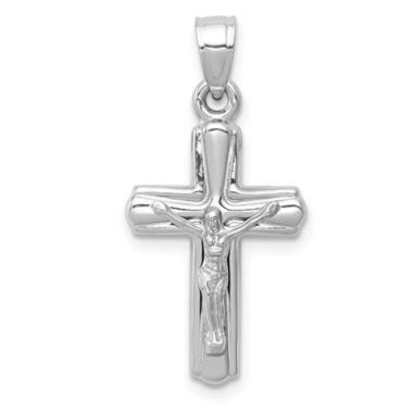 14k White Gold Reversible Crucifix /Cross Pendant