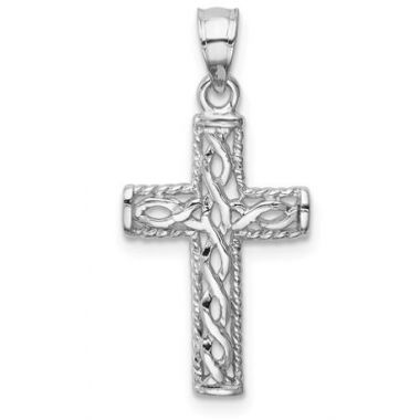 14K White Solid Polished Braided Cross Pendant