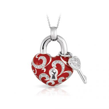 Belle Etoile Key To My Heart Collection Red Enamel Pendant