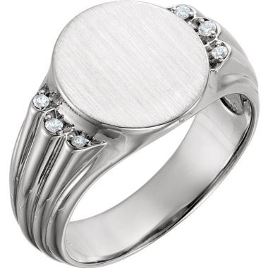 Sieger's Jewelers 14k White Gold Diamond Men's Oval Signet Ring