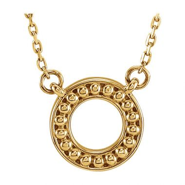 Sieger's Jewelers 14k Yellow Gold Beaded Circle Necklace